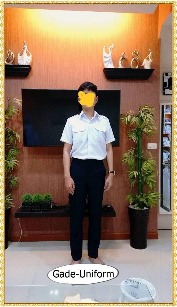 ชุดพนักงานราชการเสื้อขาว-การเกงสีกรมท่า-1